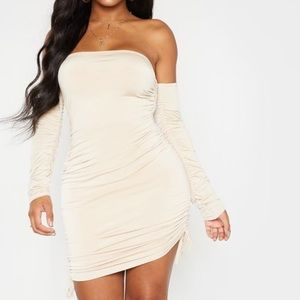 NEW Stone slinky ruched side bodycon dress
